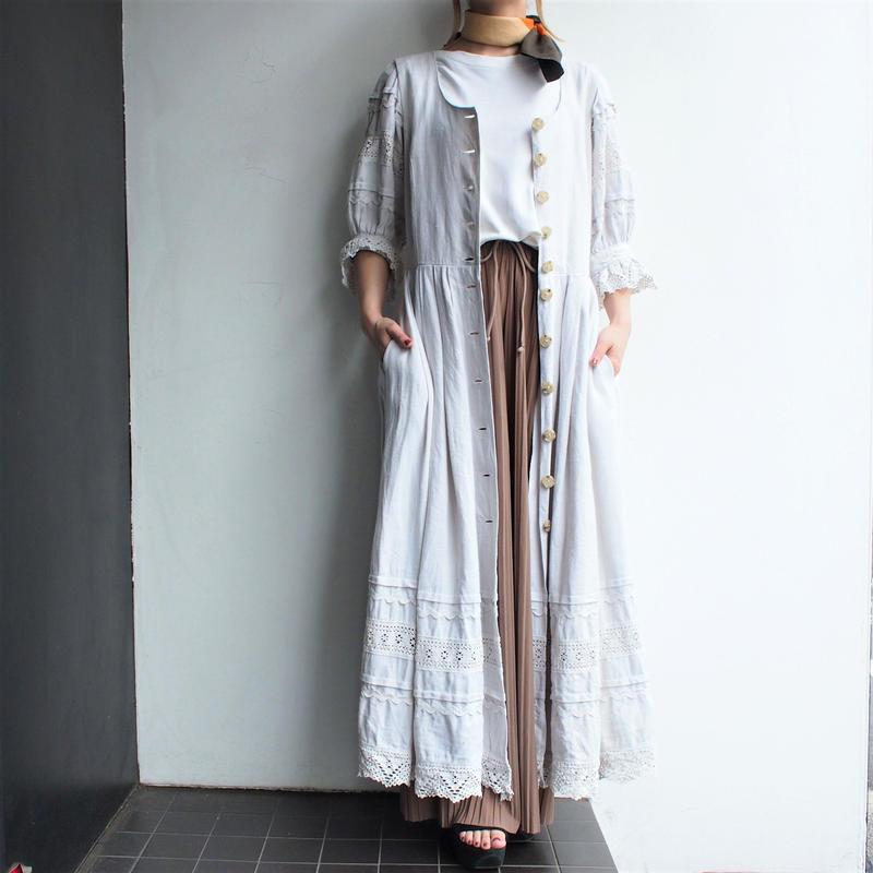 White Linen front  opening  dress