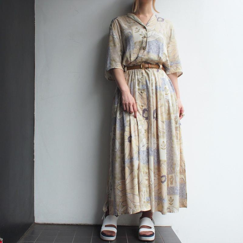 Front-Open Sand beige 向日葵print dress