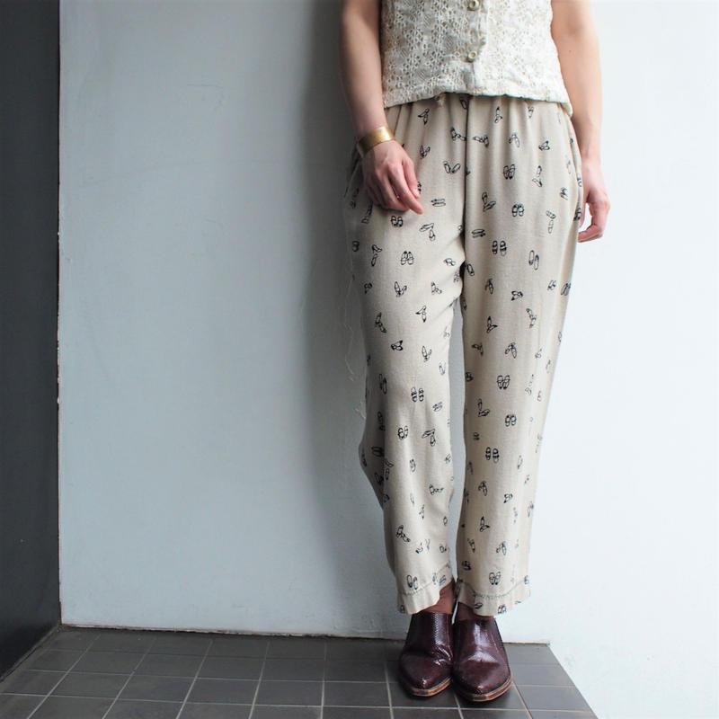 Shoes print Silk Jersey pants