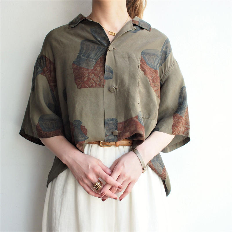 1960's  Silk Open collar shirt  Made in Hawaii