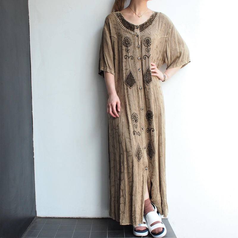 Front Button Embroidery long dress