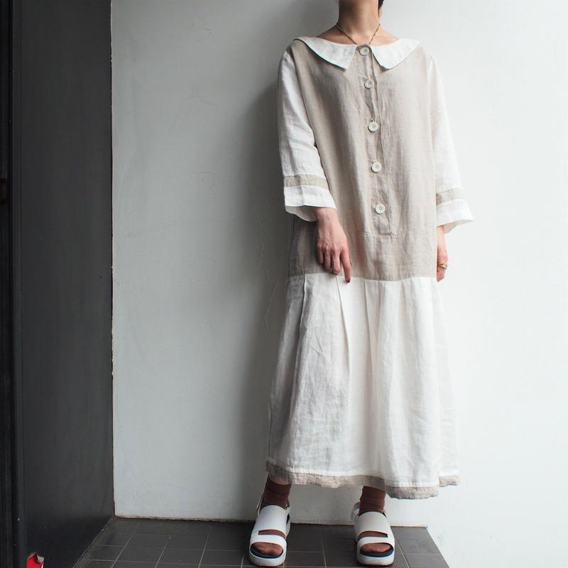Linen Round neck collar dress