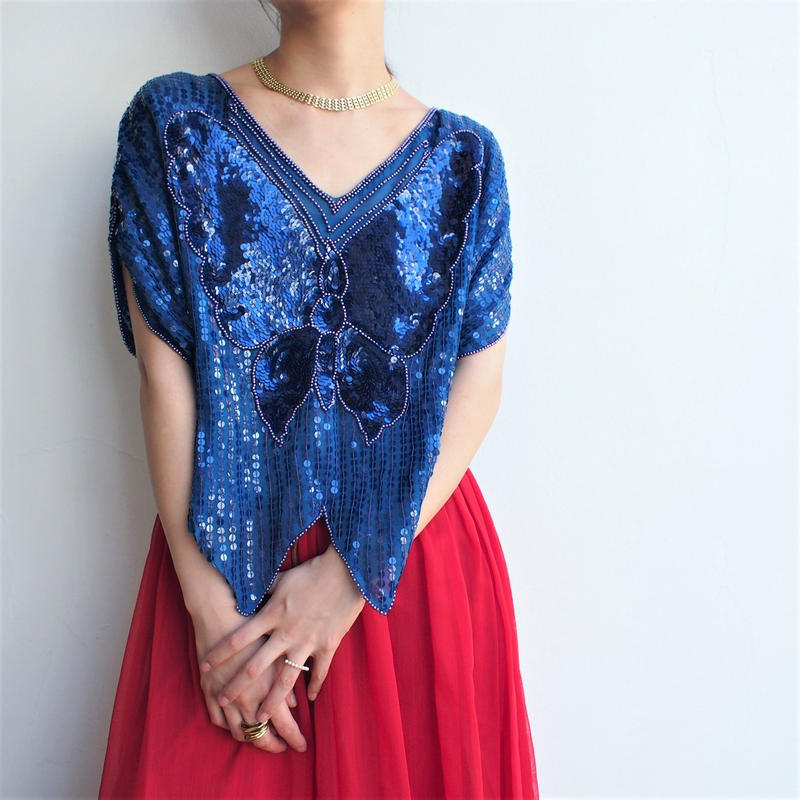 Butterfly Sequins Dress Tops