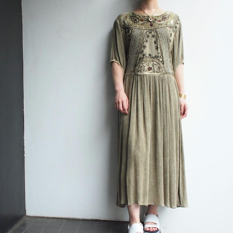 Smoky khaki gather dress