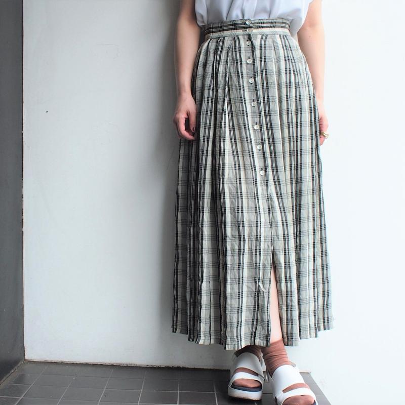 Front button Plaid long skirt