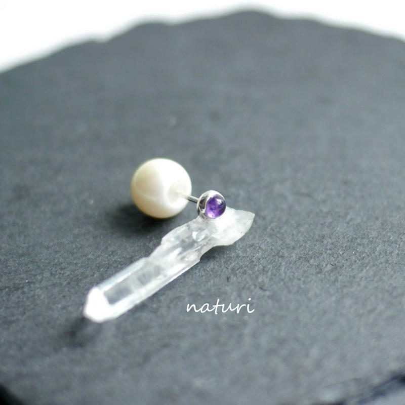 【noix】sv925 amethyst pierce with pearl catch (1pc)