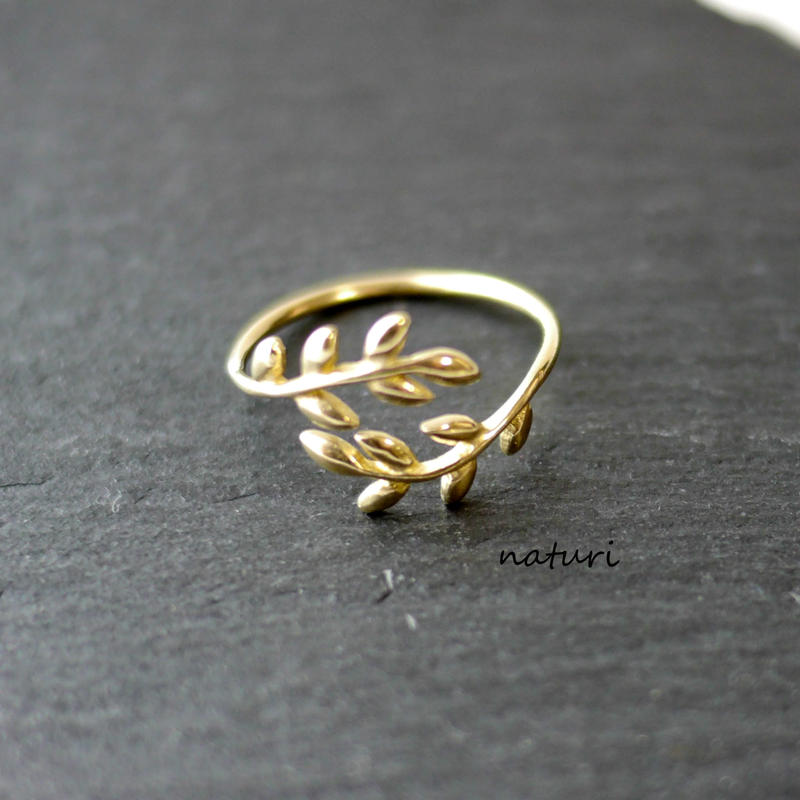 【feuille】brass leaf ring