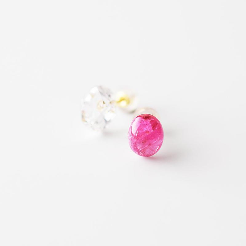 天然石ピアス/スピネル&ハーキマーダイヤモンド