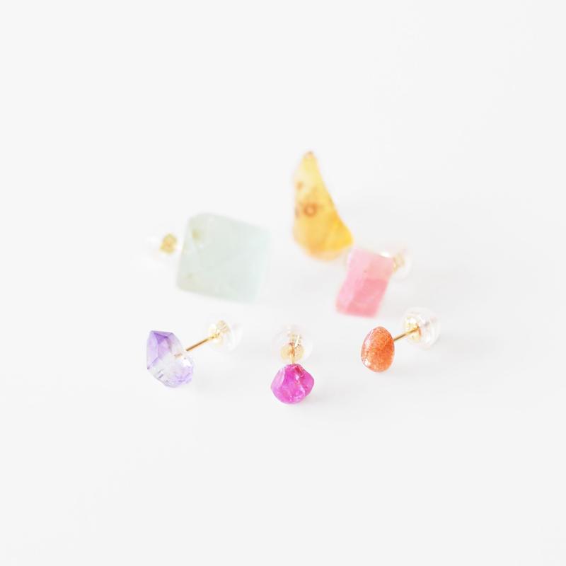 天然石ピアス/キャンディーカラー6種