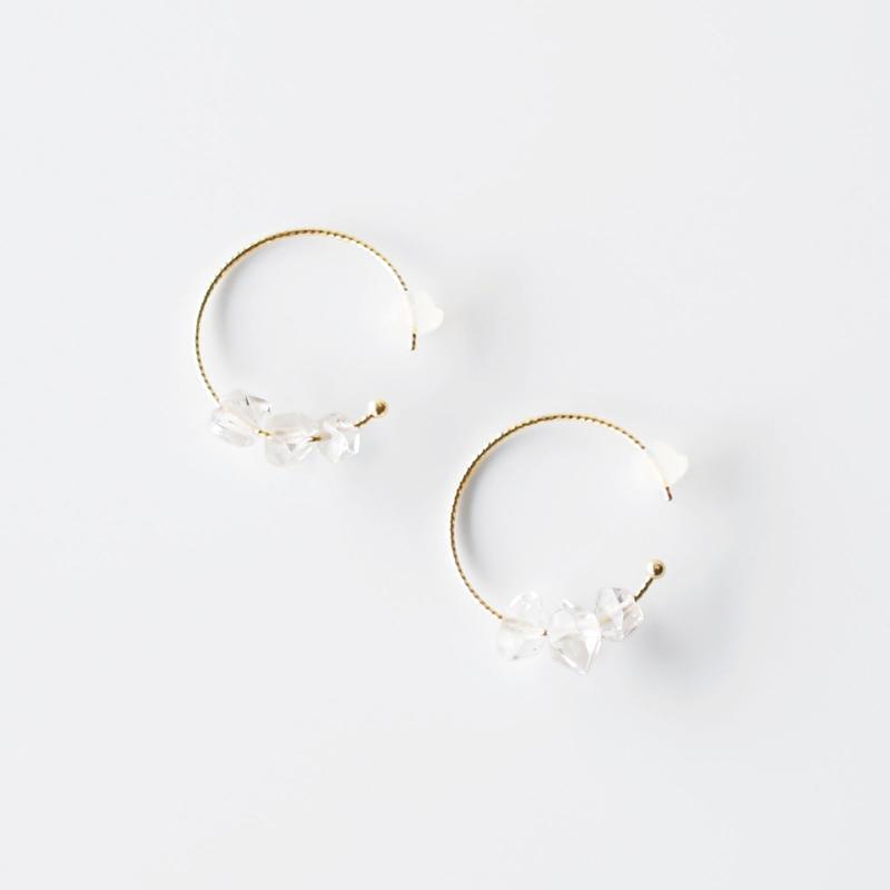 結晶ピアス/ハーキマーダイヤモンド