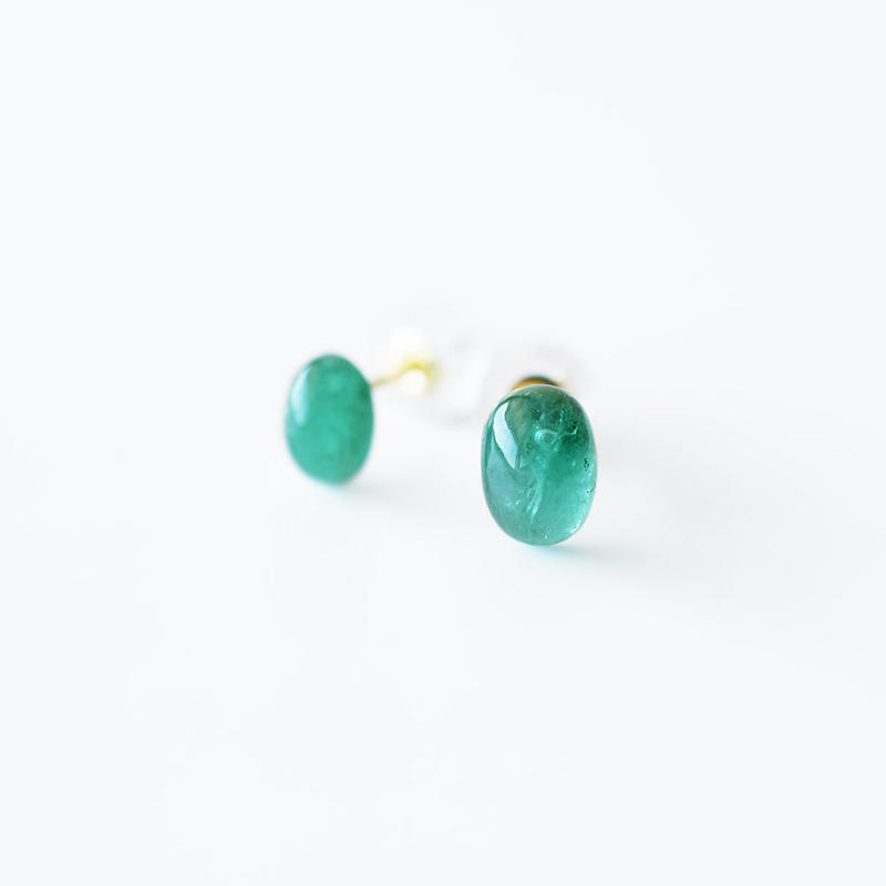 天然石ピアス/エメラルド