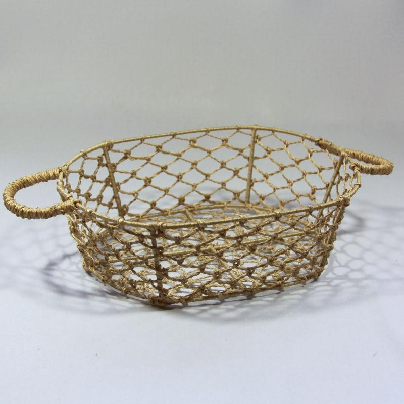 C364 すかし編みバスケット 縦24.5 x 横17.8 x 高さ8.7 cm