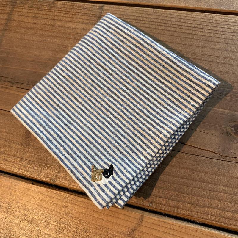 NECOREPA 刺繍ハンカチNo28 ブルーストライプ三毛