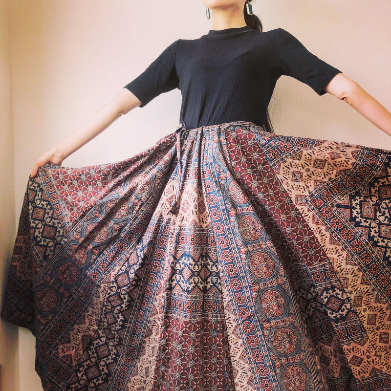 【再入荷】Ajrakh  long long flare skirt