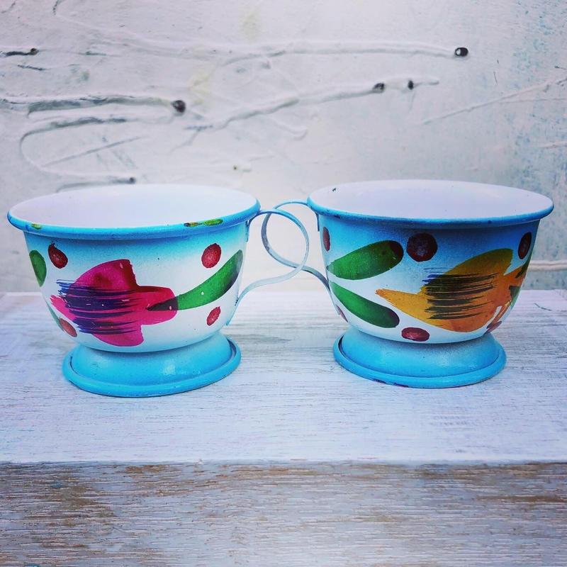 【送料無料】Rajasthan 琺瑯チャイカップ 2個set