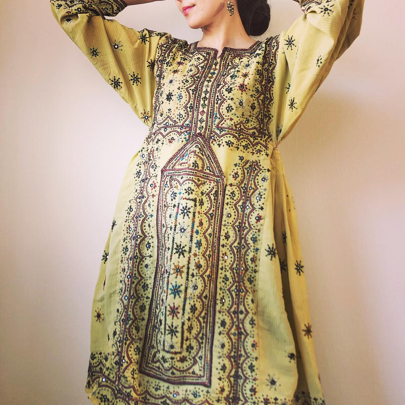 vintage baloch  dress yellow