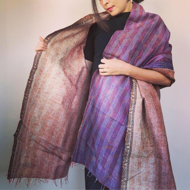 silk kantha shawl purple