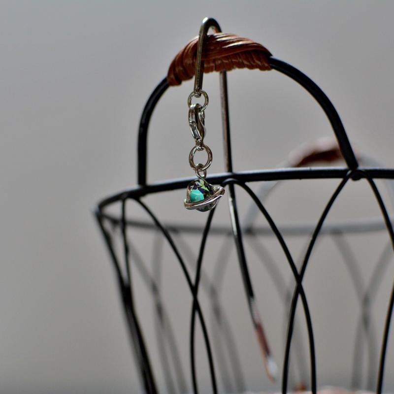 ブックマーカー(銀)*土星形・スワロカラー:クリスタルシャイン