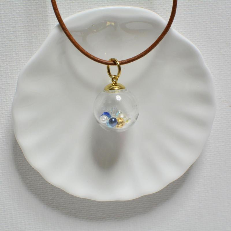 ガラスドーム  ペンダント B(ブルー×ゴールド)