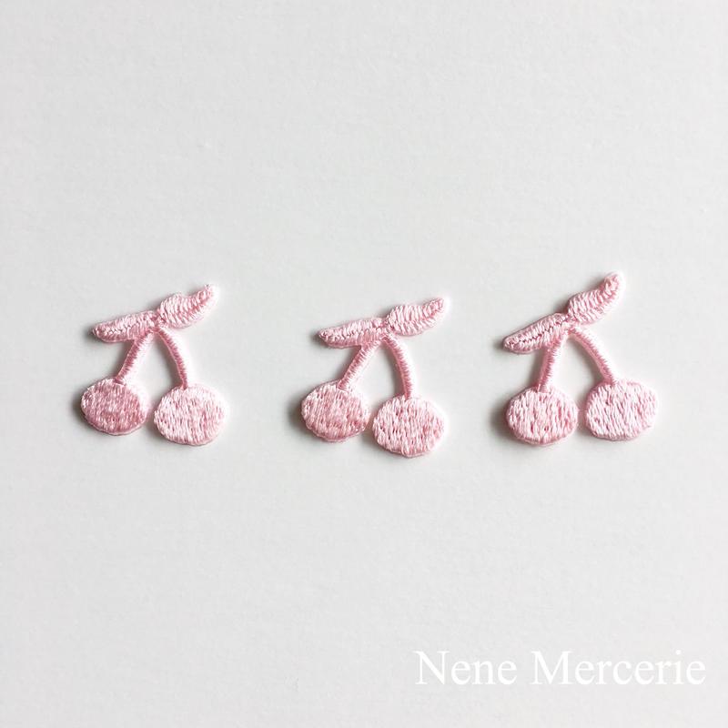 さくらんぼ/ピンク/3枚セット/刺繍アイロンワッペン