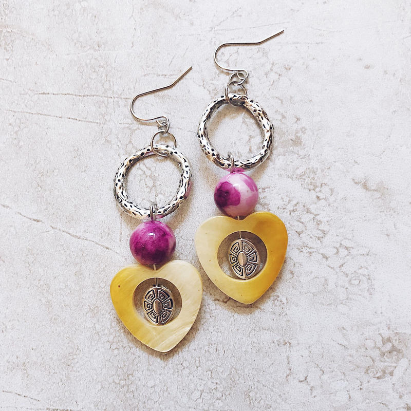 heart shell silver ring pierce