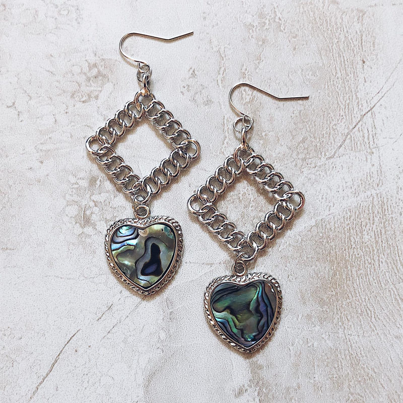 square chain heart shell pierce