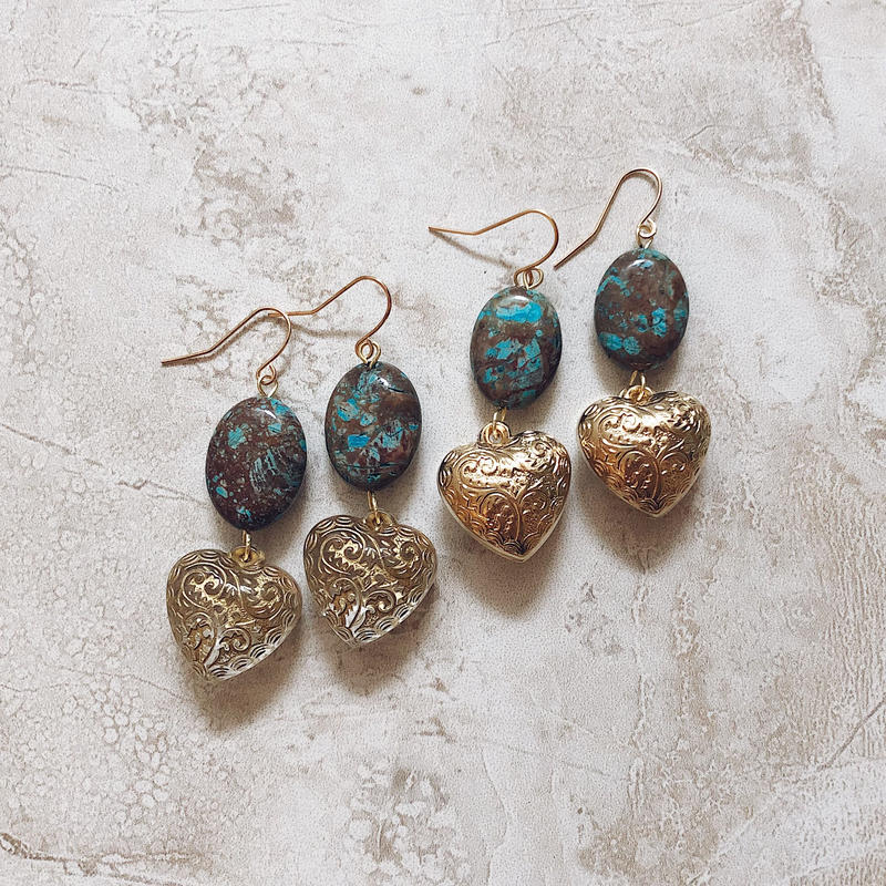 blue stone gold  heart pierce