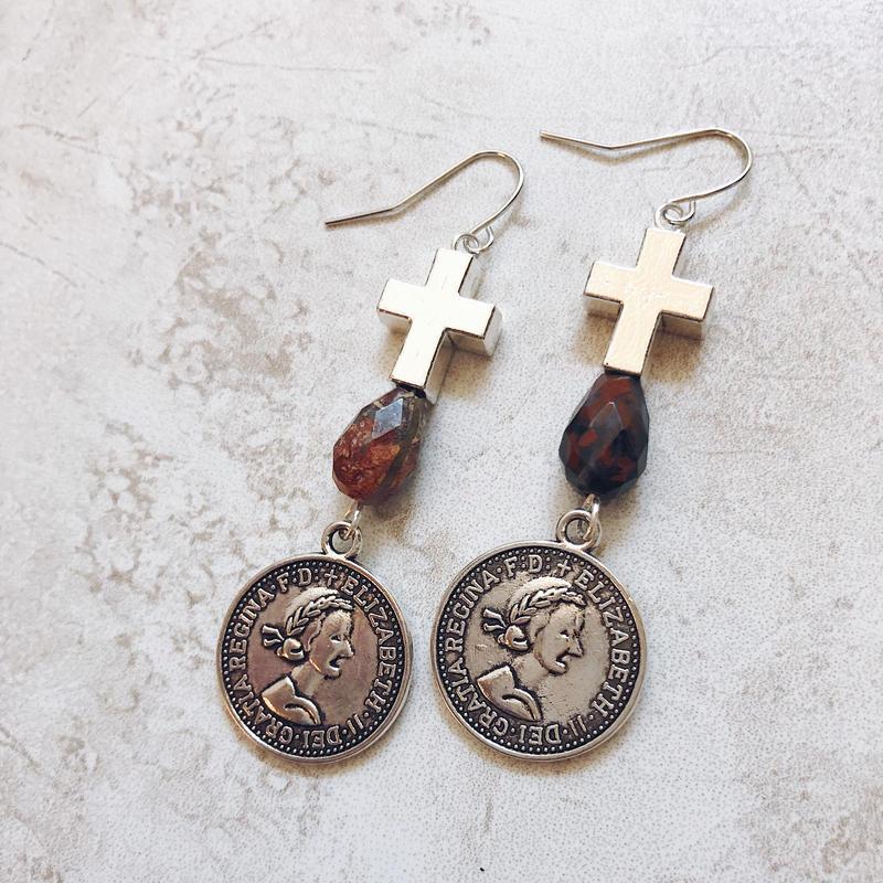 jasper silver coin cross pierce