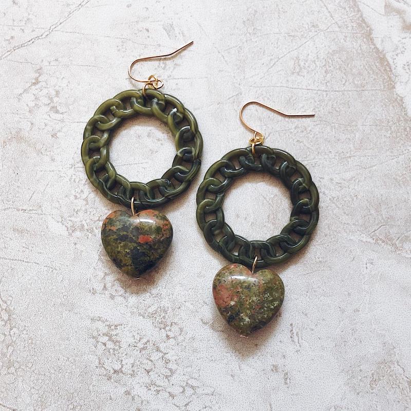 green chain ring heart pierce