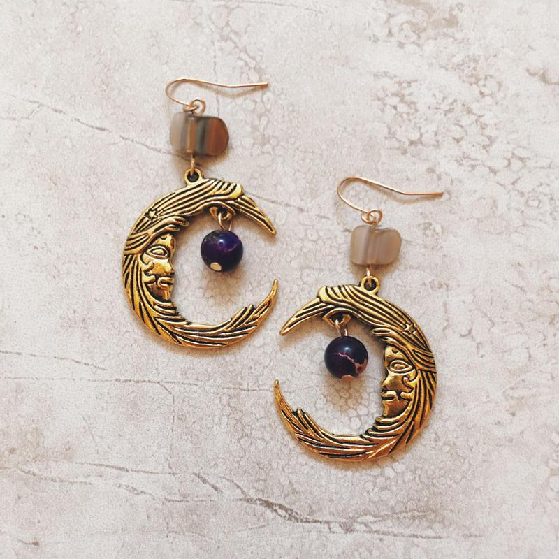 purple stone gold moon pierce