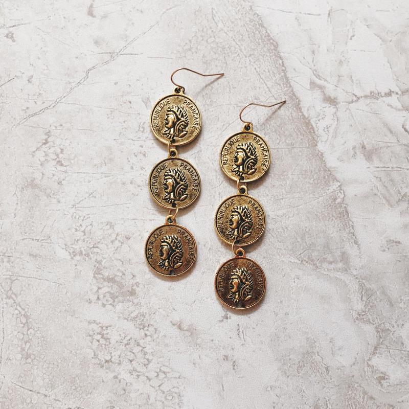 antique gold coin 3 pierce