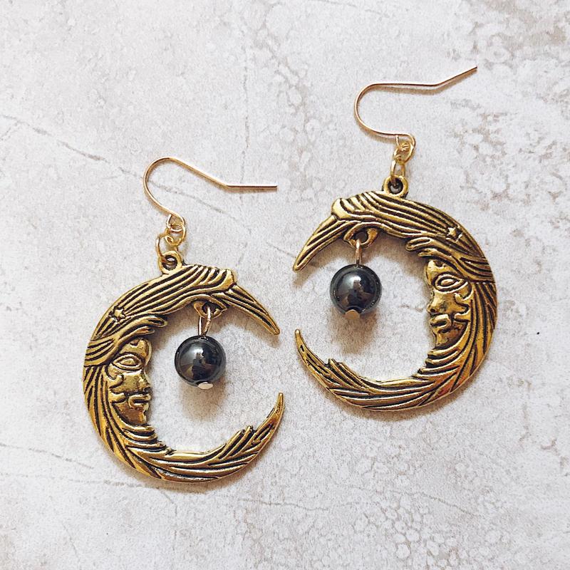 gold moon stone pierce