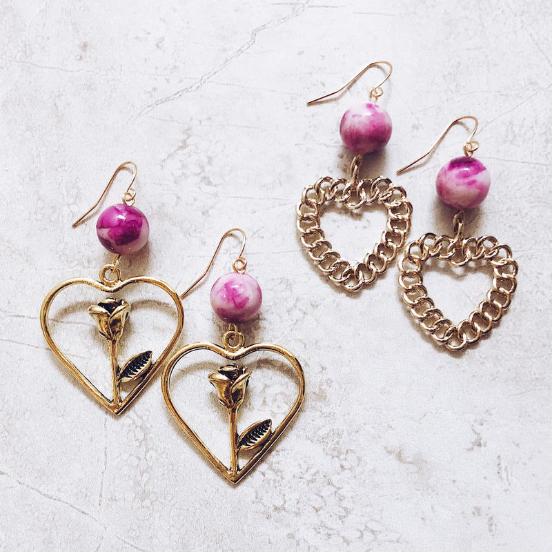 pink stone gold heart pierce