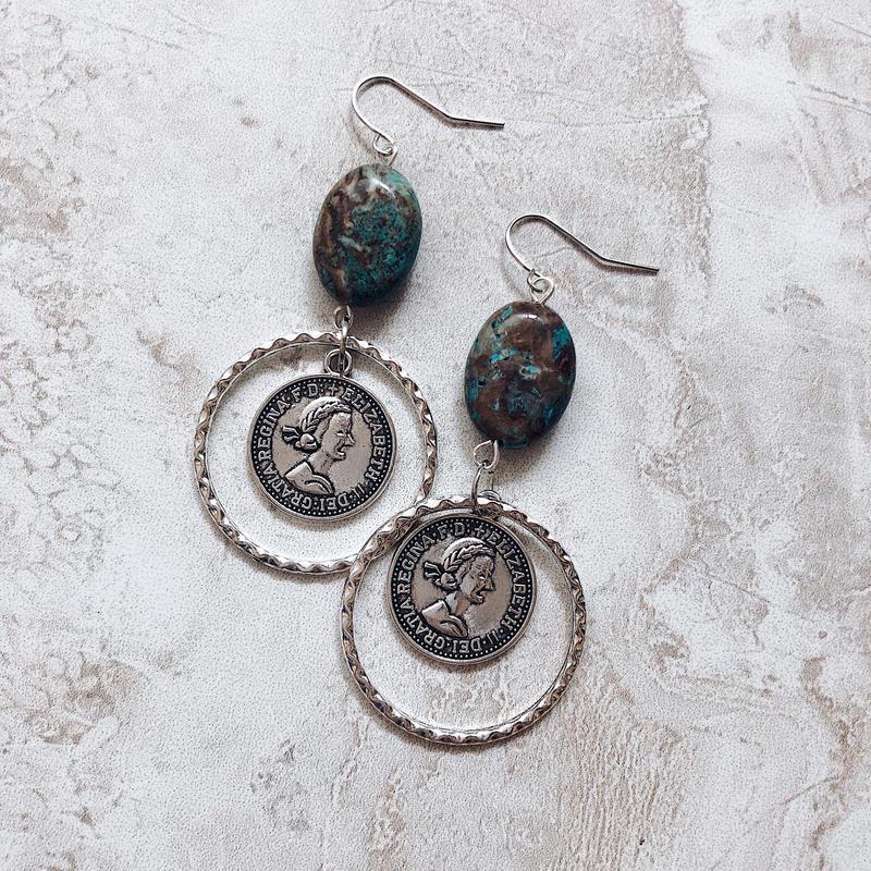 blue stone ring coin pierce