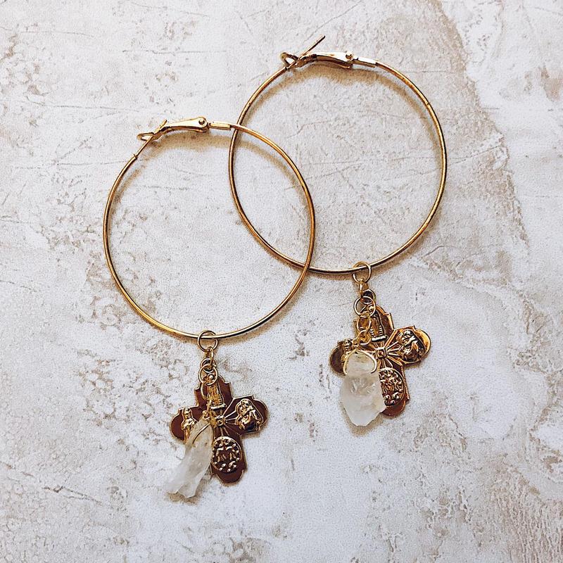 gold cross crystal hoop pierce