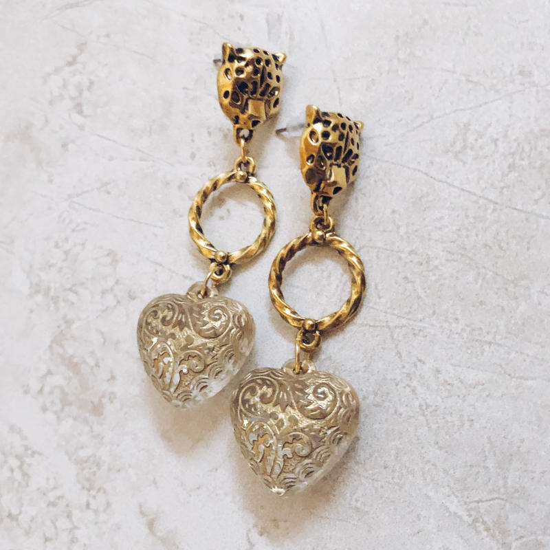 gold leopard clear heart pierce