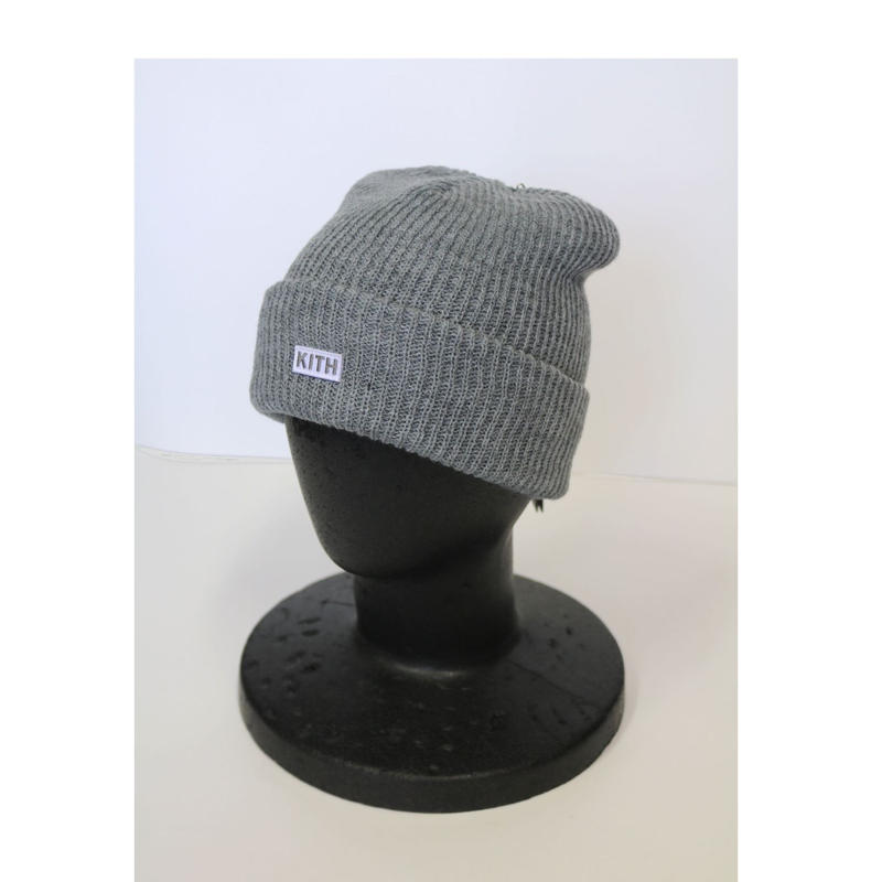 KITH Box Logo Knit Beanie Light Heather Grey