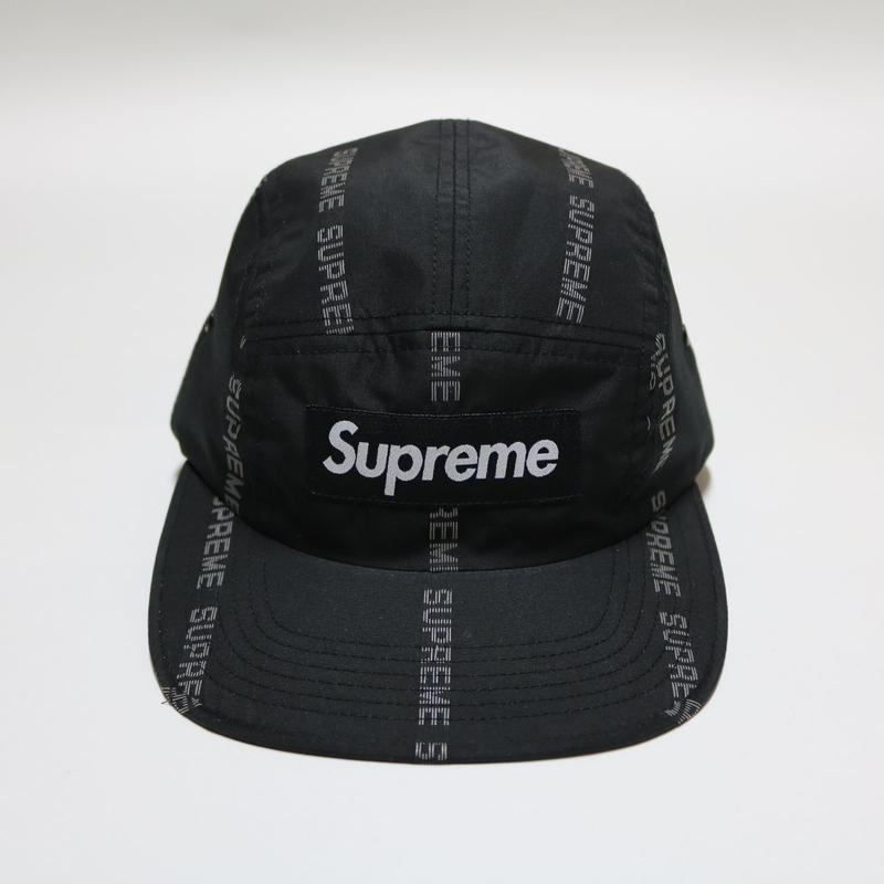 Supreme 18FW Reflective Text Stripe camp Cap black/white