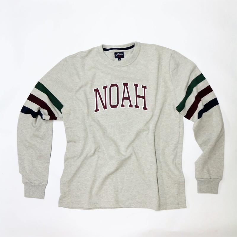 NOAH STRIPE L/S TEE GRAY L