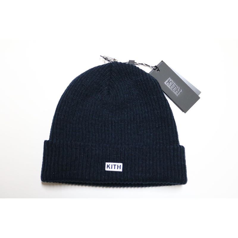 KITH Box Logo Knit Beanie Navy