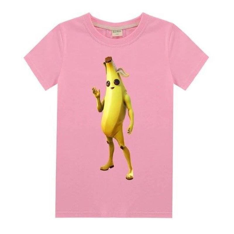 フォートナイト fortnite 子供服  バナナスキン ピーリーTシャツ ユニセックス カジュアル半袖Tシャツ トップス 10色展開 バトルロワイヤル   ピンク
