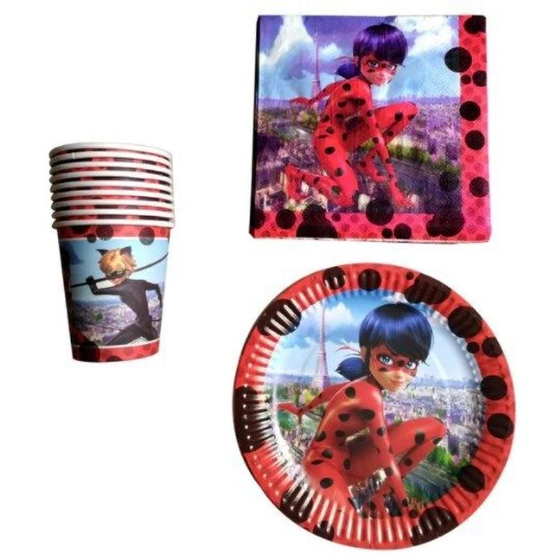 ミラキュラス レディバグ  シャノワール  パーティーグッズ 紙コップ・紙皿・ 紙ナプキンのセット マリネット パーティーグッズ  誕生日やお祝いに