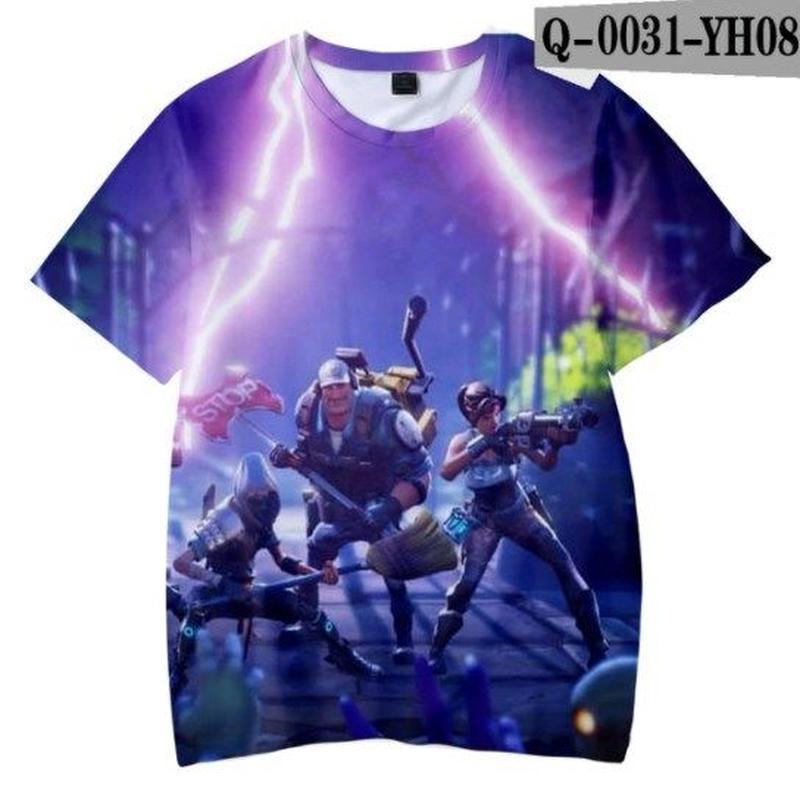 フォートナイト fortnite 子供服  3Dデザイン Tシャツ ユニセックス カジュアル半袖Tシャツ トップス  バトルロワイヤル  3
