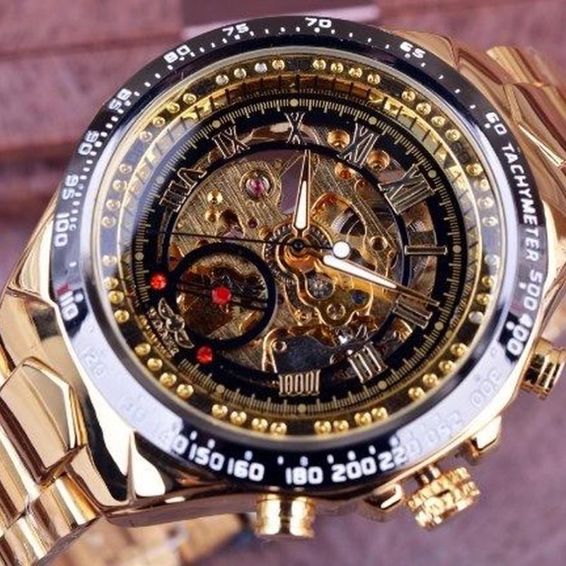 海外ブランド◆T-WINNER◆ ゴールデン腕時計 メンズ スケルトン 自動巻 ブラック/ゴールド