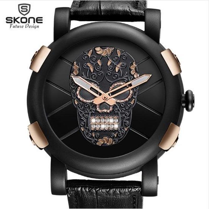 スカルウォッチ★SKONE★メンズ腕時計  ドクロ 骸骨 3dスカルダイヤモンド クォーツ ガガミラノ オマージュ