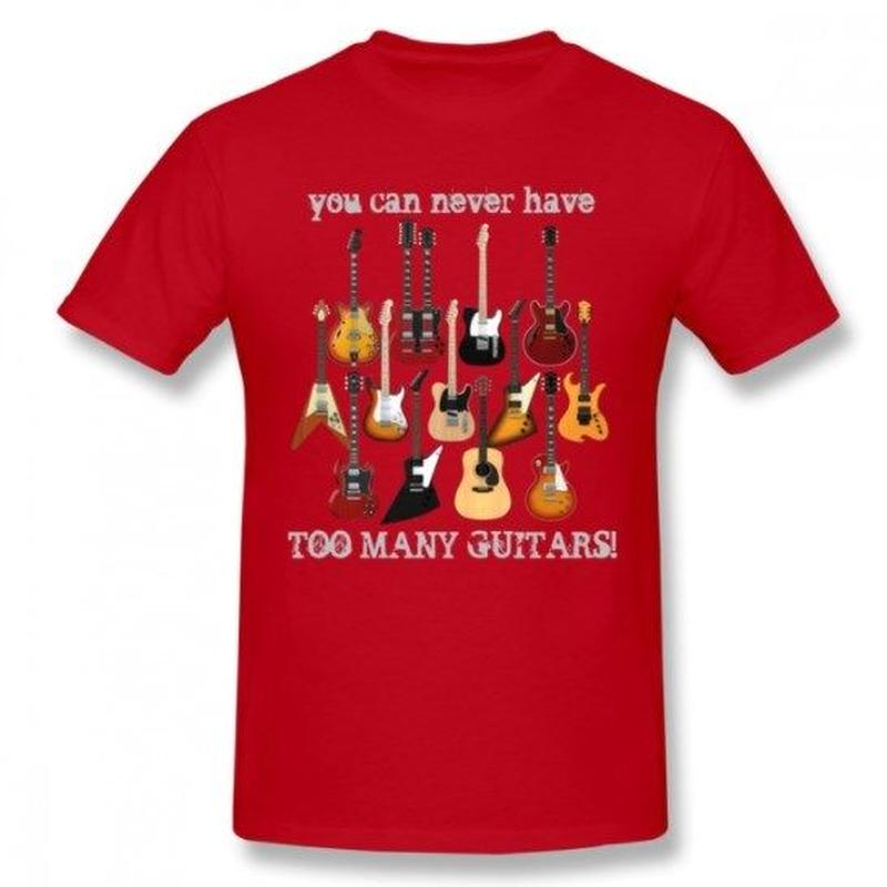 ギター名器 集合 Tシャツ ギタリスト  レスポール フライングV GS レスポール ファイヤーバード  ストラト ユニセックス 男女兼用  レッド