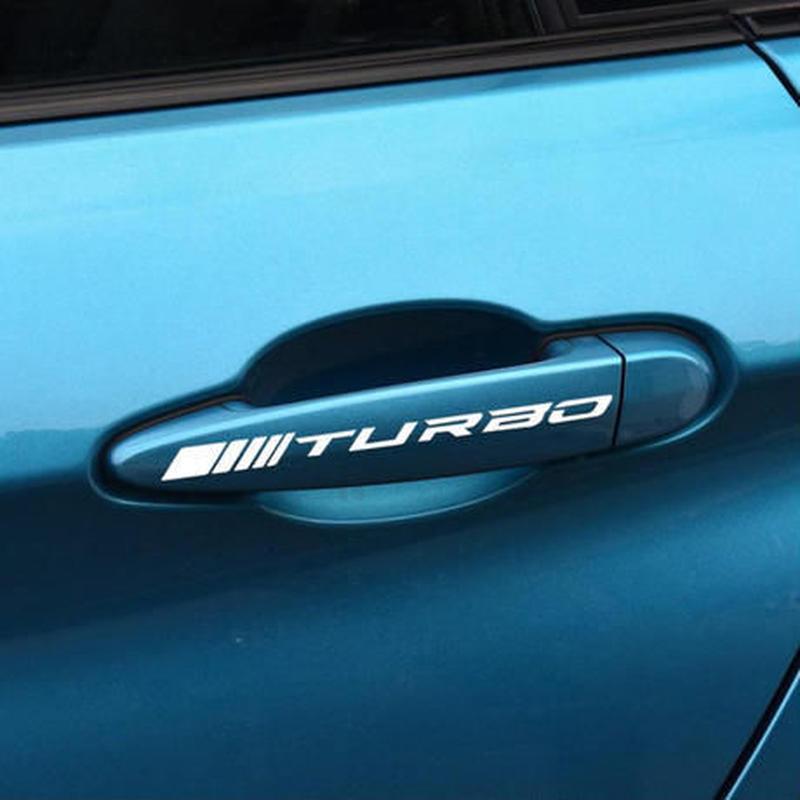 メルセデスベンツ ステッカー 4ピース デカール ハンドル ドアノブ ターボロゴ W211 W204 W210 W205 C63 CLA CLE h00193