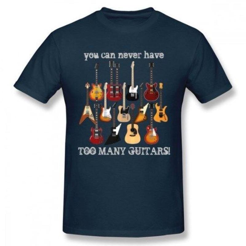 ギター名器 集合 Tシャツ ギタリスト  レスポール フライングV GS レスポール ファイヤーバード  ストラト ユニセックス 男女兼用  ネイビー