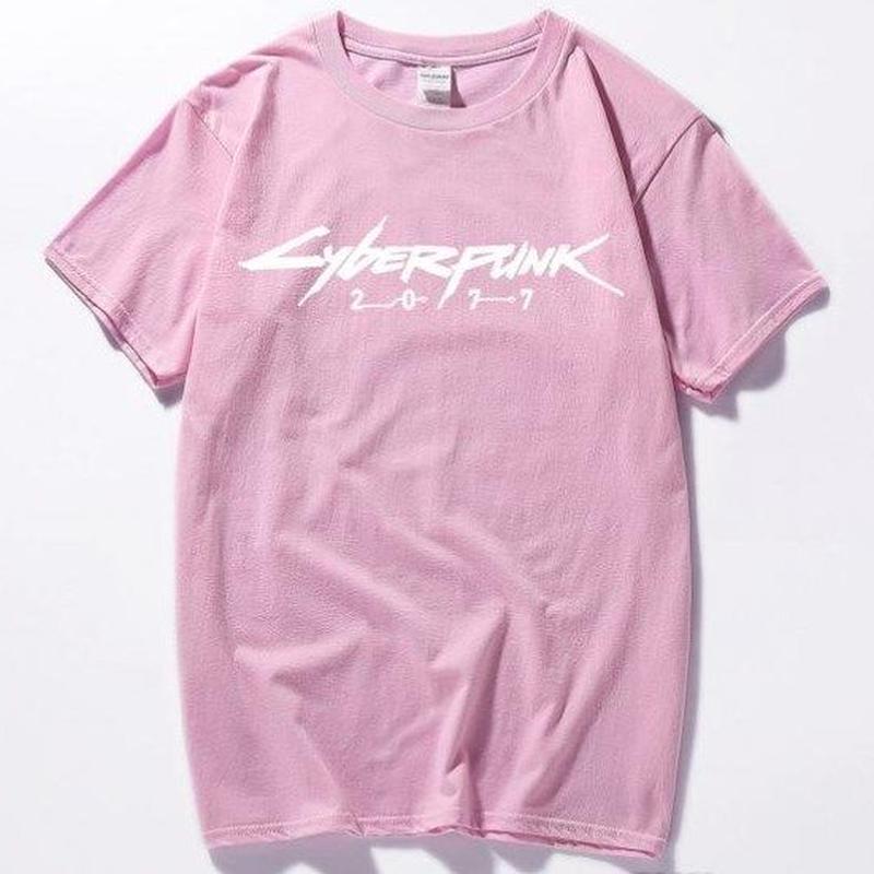 サイバーパンク 2077  ゲーム タイトル Tシャツ  Cyberpunk 2077  ピンク