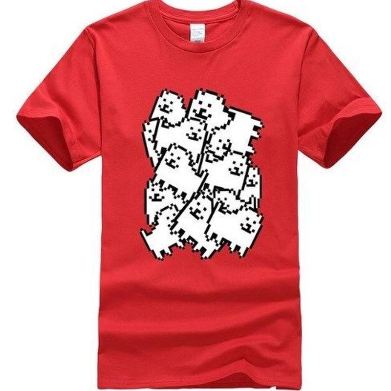 ゲームグッズ アンダーテール Undertale   Annoying dog たくさん うざい犬  大量 うざいイヌ Tシャツ  レッド